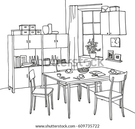 Free hand drawn furniture vector background download free vector interior hand drawn sketch kitchen with a table tableware four chairs thecheapjerseys Image collections
