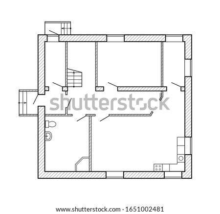 Interior house. Top view plans. Blueprint suburban house. Architecture plan isolated on background. Planning design. Drawing architectural project. Standard unfurnished house. Small apartment. Vector