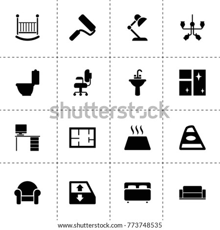 Interior icons. vector collection filled interior icons. includes symbols such as car window lift, armchair, back car light, clean window. use for web, mobile and ui design.