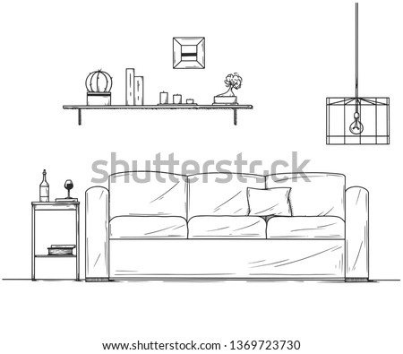 Interior in sketch style. Sofa, bedside table, lamp and shelf with plants. Vector