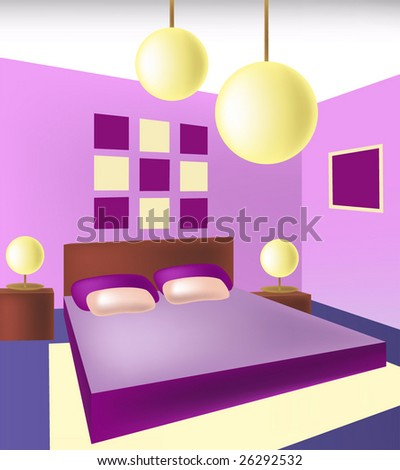 Interior. Interior Of Bedroom Is In Violet Tones. Vecto