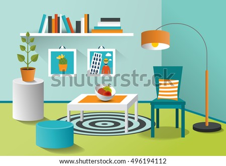 Interior Living Room Modern Minimalism Design Art Cartoon Vector