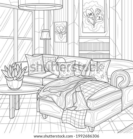 Interior. Lounge with a sofa.Coloring book antistress for children and adults. Illustration isolated on white background.Zen-tangle style. Hand draw