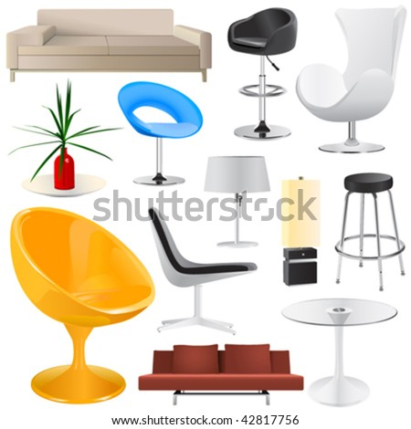 interior objects big set - stock vector