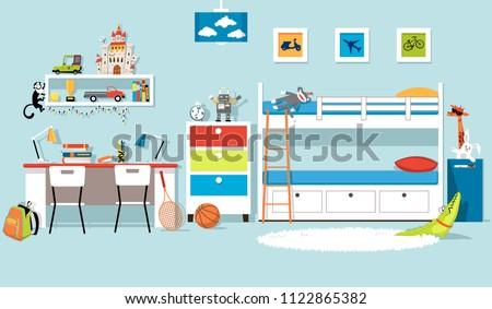 Interior of a boys' bedroom with a bank bed and a desk, flat vector design, EPS 8, no transparencies