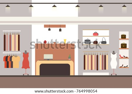 interior of a modern and fashionable clothing store,flat vector illustration
