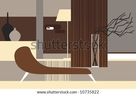Interior of a room in retro style with dry branches