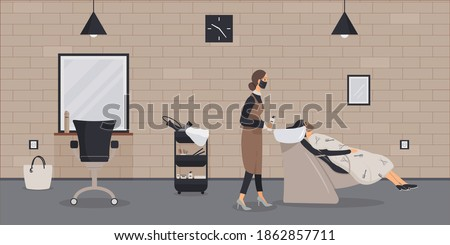 Interior of beauty salon in loft style.Barber in protective medical mask during epidemic of virus wash head of client in cozy barbershop with brick wall,hair dryers.Workplace of hairdresser.Vector