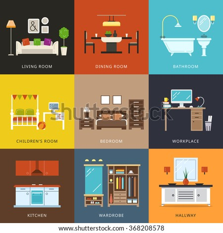 Interior Of Different Rooms Types Furniture For Home Hallway And Wardrobe Workplace And