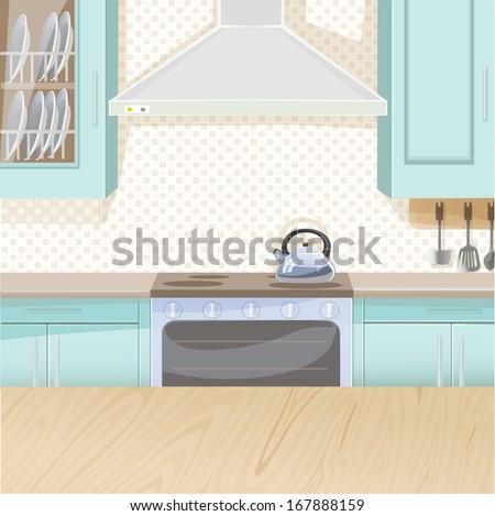 interior of kitchen in blue