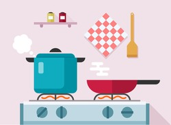 Interior of kitchen, pans on the stove, cooking. Vector illustration in flat style