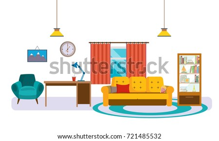 Interior Of Living Room With Furniture Sofa Cushions Desk Closet Shelf