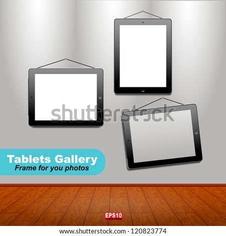Interior of modern room with frame in the form of tablets for your photos.