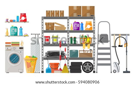 Interior Of Modern Storeroom With Metal Shelves Storage Boxes Stair Wheels