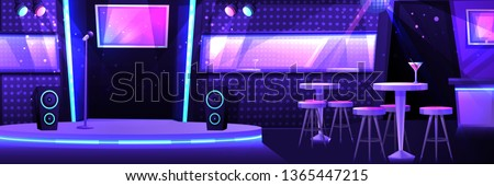 Interior of night club with stage and microphone for karaoke, dance floor and bar. Projectors shine on the walls, disco ball with light and tables and cocktails. Vector cartoon illustration