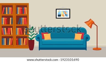 Interior of public library. Room with bookcase, sofa and reading lamp. Home library. Vector illustration  in flat style.