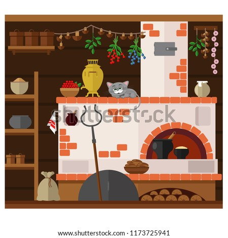 Interior of russian village house with Russian stove. Traditional farm house kitchen. Happy cat dozing on a chair.