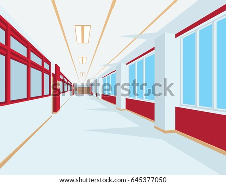Interior of school hall in flat style. Vector illustration of university or college corridor with windows. Light colors with red and ocher elements. Scene for your design and artwork. Perspective.
