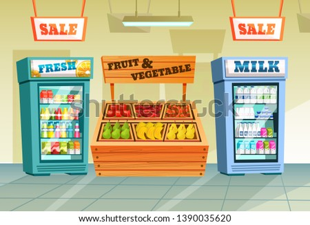 Interior of store, mall, shopping center, with grocery counters, as well as freezers with drinks, with sale signs. Store food products, shopping mall, counter with foods. Vector illustration.