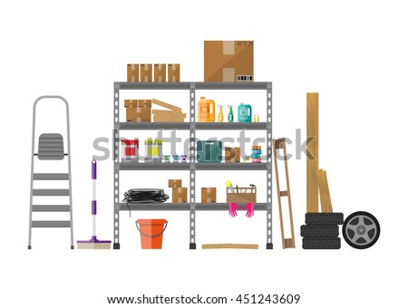 Interior of storeroom with metal shelves, storage, boxes, stair, wheels, cleaning accessories isolated on white. flat style Foto stock ©