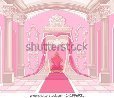 stock vector interior of the throne room of magic castle 141996931 - Каталог — Фотообои «Для детской»