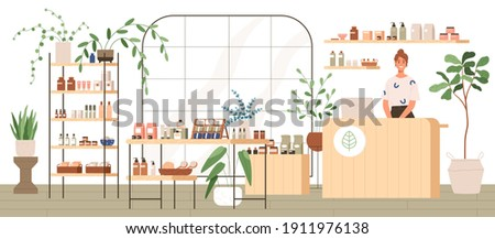 Interior of trendy cosmetics shop with organic natural products for skincare. Smiling seller behind counter in modern eco store with plants and wooden furniture. Colored flat vector illustration ストックフォト ©