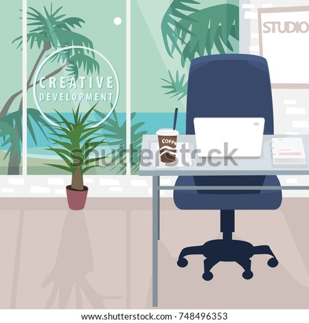 interior of workplace with