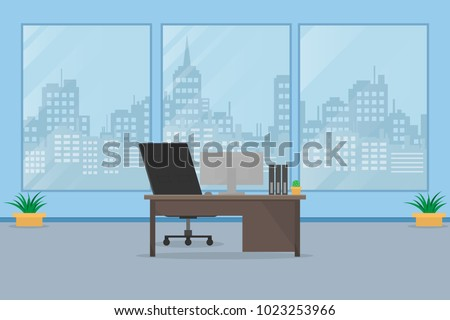 Interior office business.indoor background with table and computer.vector and illustration