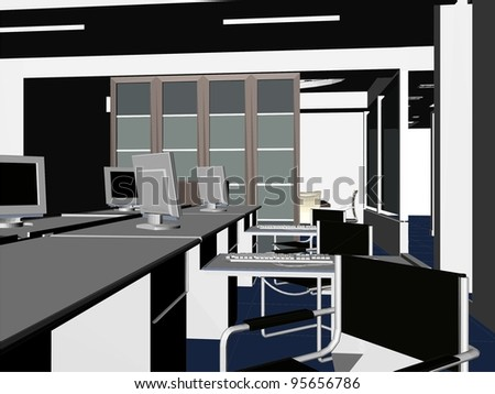 Interior Office Rooms Vector 09