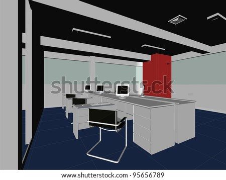 Interior Office Rooms Vector 08