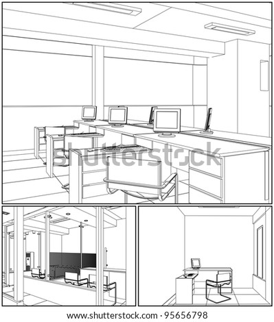 Interior Office Rooms Vector 07