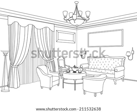 Bedroom Designs Outline interior perspective drawing of a room interior the easiest to