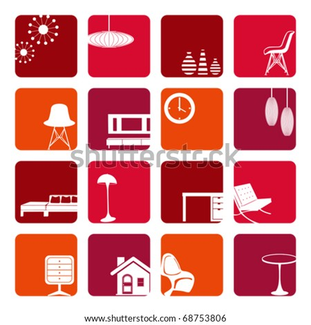 interior red ornaments set