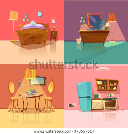 interior retro set with bedroom