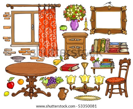 Interior Room Cartoon Elements