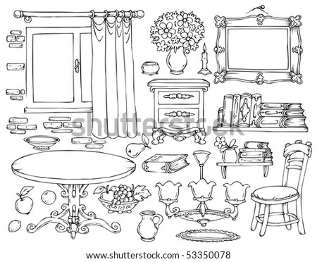 Wohnung Haus 5448941 likewise Play room further Messy room in addition Watch likewise Black And White Bedroom Clipart. on cartoon black and white living room