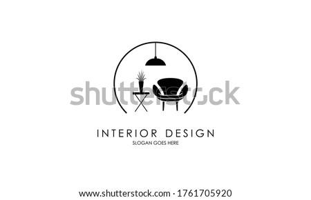 Interior room, furniture gallery logo design