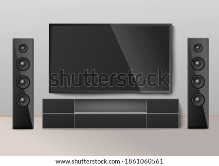 Interior room with modern cinema system. Video equipment for home entertainment. Digital electronic stereo technology. Vector realistic 3D illustration.