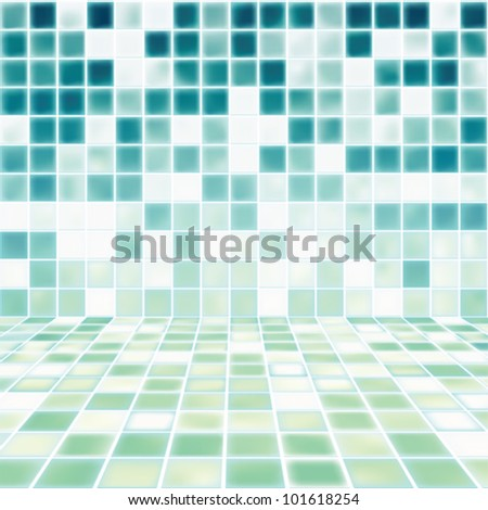 Interior Room with Mosaic Tiled Wall Vector - stock vector