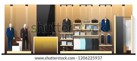 Interior scene of men clothing store , vector , illustration