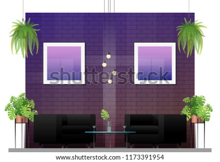 Interior scene of modern restaurant with table and chairs for customer , vector , illustration