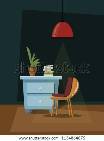 interior scene vector illustration  #1134864875