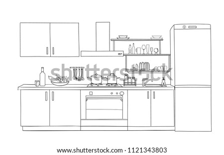 Interior sketch of kitchen room. Outline blueprint design of kitchen with modern furniture
