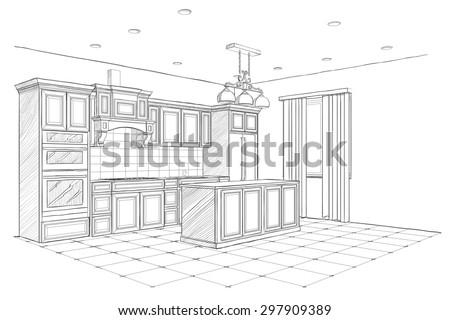 interior sketch of modern