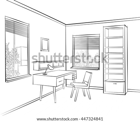 Interior Sketch Of Work Place Furniture With Chair, Table, Shelf, Window.  Office