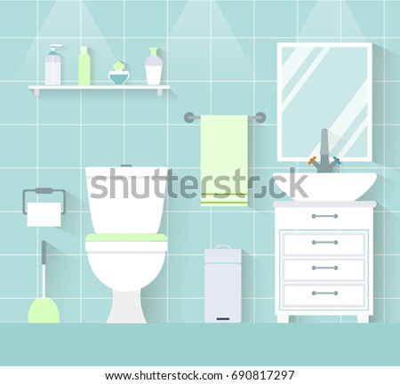 Interior toilet in a flat style. Vector illustration. WC with furniture.