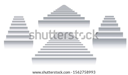 Interior white stairs. Isolated stairways front view, architecture 3d staircase set images, simple stair shape vector design