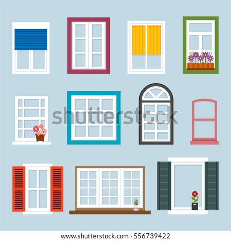Interior windows of various forms vector illustration flat design