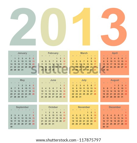 Interior 2013 year vector calendar