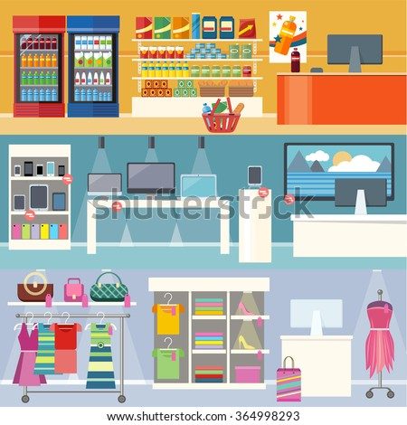 Interiors stores clothes, technology and food. Smartphone and clothing, grocery market, retail and supermarket, business and shopping, consumerism shop illustration. Supermarket interior. Retail store